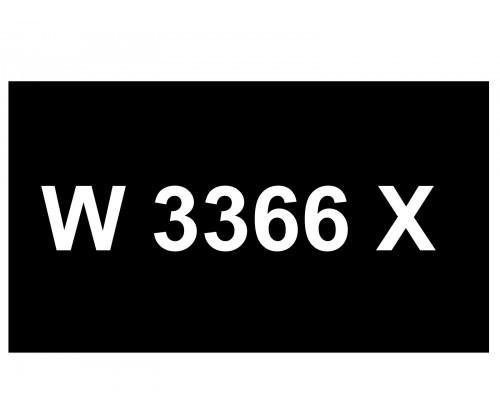 [VIP Number] - W 3366 X